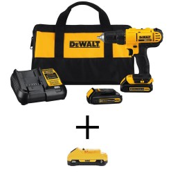 20-Volt MAX Li-Ion Cordless 1/2 in. Drill/Driver Kit with Two 20-Volt Batteries 1.3Ah, 3.0Ah Battery, Charger & Tool Bag