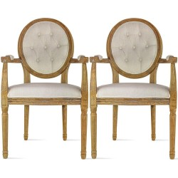 Set Of 2 Modern Farmhouse Vintage  Solid Wood Dining Chairs With Arms