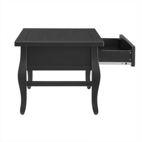 Riverbay Furniture Two-Drawer Wood Coffee Table in Black