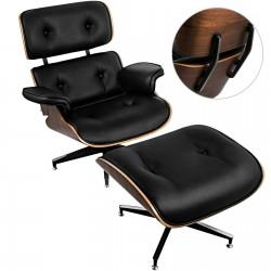 Sle Lounge Chair and Ottoman  100% PU Leather Chair Black Walnut