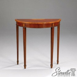 L40792: Mahogany 1/2 Round Console or Foyer Table w Nice Inlay Throughout ~ New
