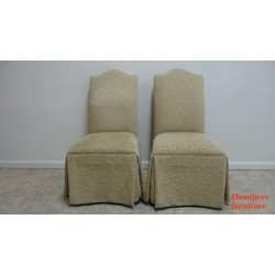 2  French  Parson Custom Fabric Dining Room Chairs