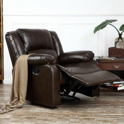 NEW Reclining Chair Furniture  Living Room Faux Leather, Black /