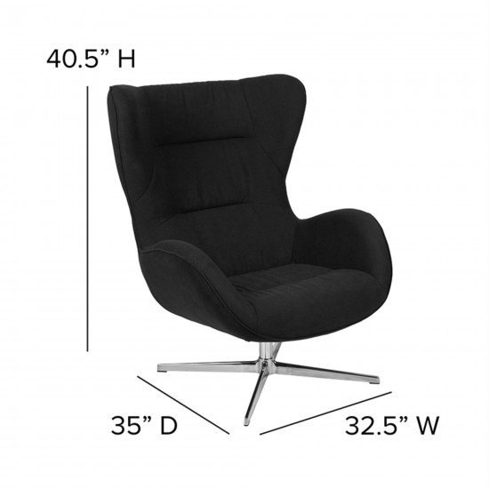 Furniture Fabric Swivel Wing Chair and Ottoman Set