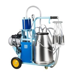 25L Electric Milking Machine Milker for Cows Goats Sheep with Stainless Steel Bucket Portable Milking Machine for Ewe Farm Suction Milk Machine 6.6Gallon 110V(3-7Days Fast Delivery)