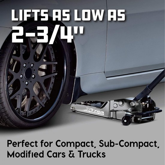 Powerbuilt 620479E Xtra Low Profile Floor Jack with Safety Bar - 2 Ton Load Capacity