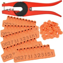 500 Sets Livestock Numbered Plastic Ear Tags for Cattle Cow Calves Bull Animal Identification TPU Earring Tagger (Orange) with 1 pcs Pliers Applicator