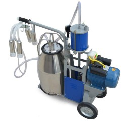 110V Auto Electric Milking Machine Bucket Vacuum Piston Pump Stainless Steel Bucket Single Cow Milking Machine10-12 Cows per Hour for Farm Cow Cattle