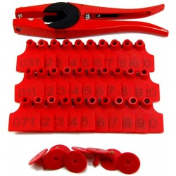500 Sets Numbered Plastic Livestock Ear Tags for Cattle Pigs Calf Hogs Goat Animal Identification TPU Earring Tagger with 1 pcs Pliers Applicator, Red