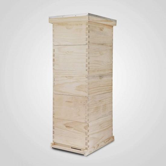 Happybuy 5 Boxes 10 Frame Bee Hive 1Deep 4 Medium Langstroth Beehive Pine Wood Beehive Frames for Beekeepers