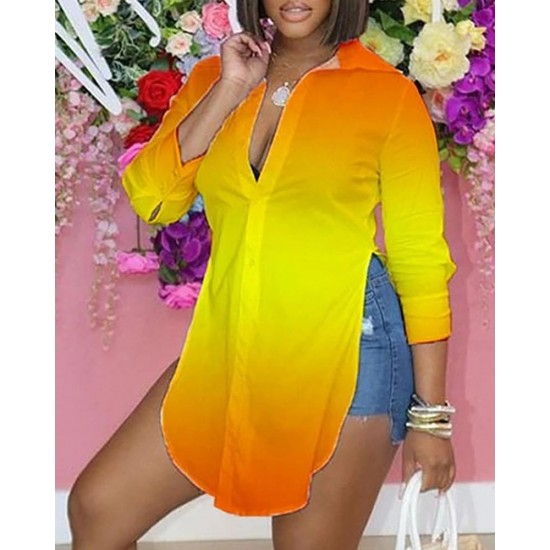 Ombre Colorblock Long Sleeve Slit Shirt