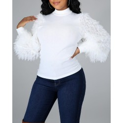 Mock Neck Fluffy Long Sleeve Sweater
