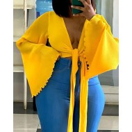 Frill Hem Bell Sleeve Knotted Front Crop Top