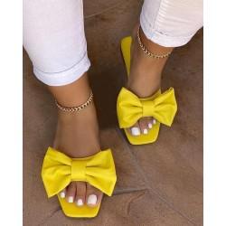 Bowknot Open Toe Flat Sandals