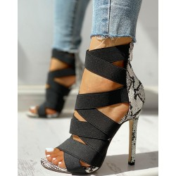 Lace-Up Bandage Patchwork Snakeskin Thin Heeled Sandals