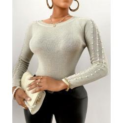 Beaded Design Long Sleeve Sweater