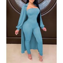 Bandeau Jumpsuit & Lantern Sleeve Cardigan Set
