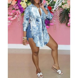 Floral Print Slit Jean-like Long Sleeve Shirt