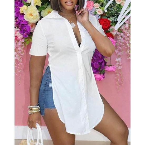 Short Sleeve Button Design High Slit Shirt