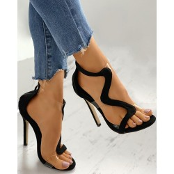 Open Toe Clear Perspex Cutout Stiletto Heel