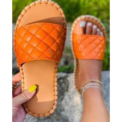 Quilted Open Toe EspadrilleFlat Sandals