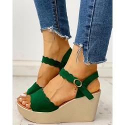Ankle Strap Buckled Platform Wedge Sandals