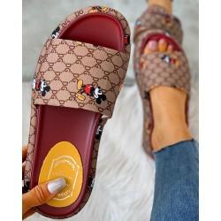 Cartoon Letter Pattern Peep Toe Flatform Sandals
