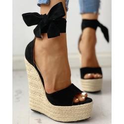 Colorblock Bowknot Platform Espadrille Sandals