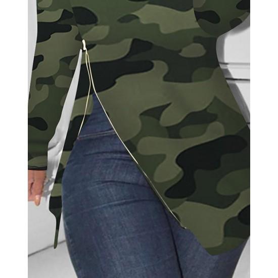 Skew Neck Camouflage Slit Long Sleeve Irregular Hem Blouse