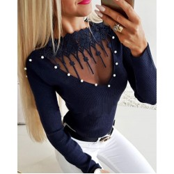 Beading & Mesh Applique Ribbed Top