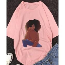 Figure Print Half Sleeve Casual T-shirt