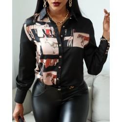 Scarf Print Button Design Long Sleeve Shirt