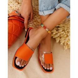 Colorblock Square Toe Flat Sandals